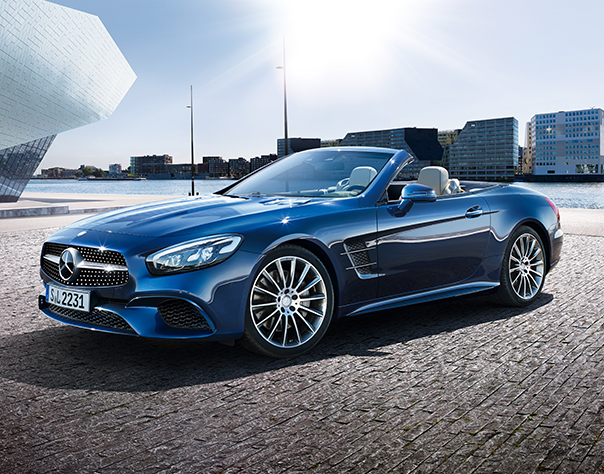 Side View Of Front Facing Blue SL With Top Down With Waterfront And City In  ...