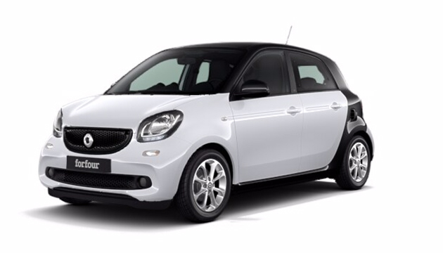 Side view of a black smart forfour on plain white backdrop