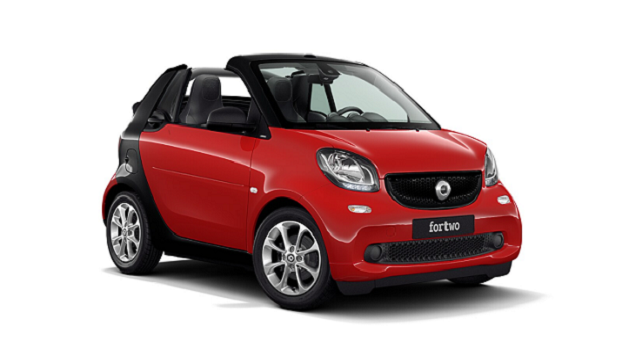 Side view of blue front-facing smart fortwo cabrio on plain white backdrop